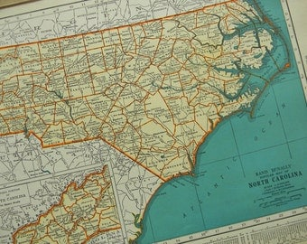 1942 State Map North Carolina - Vintage Antique Map Great for Framing