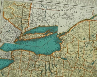 1938 State Map New York  - Vintage Antique Map Great for Framing