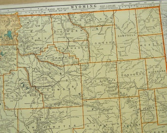 1939 State Map Wyoming - Vintage Antique Map Great for Framing