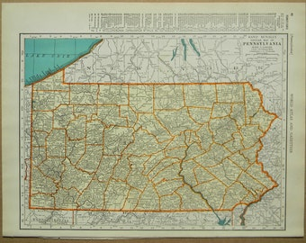 1939 State Map Pennsylvania - Vintage Antique Map Great for Framing