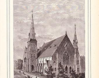 1882 Architecture Church Print - Grace Methodist Episcopal Church Wilmington Delaware - Antique Art Illustration 100 Years Old