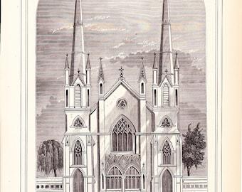 1883 Architecture Church Print - Howard Street Methodist Episcopal Church San Francisco California - Antique Art Illustration 100 Years Old