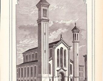 1882 Architecture Church Print - Union Methodist Episcopal Church St. Louis Missouri - Antique Art Illustration 100 Years Old