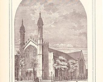 1882 Architecture Church Print - Central Methodist Episcopal Church Detroit Michigan - Antique Art Illustration 100 Years Old