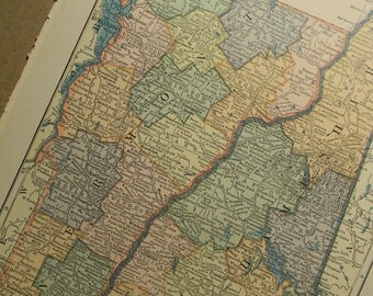 1925 State Map Vermont and New Hampshire - Vintage Antique Map Great for Framing
