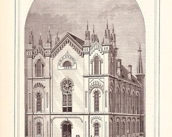 1882 Architecture Church Print - First Methodist Episcopal Church Muscatine Iowa - Antique Art Illustration 100 Years Old