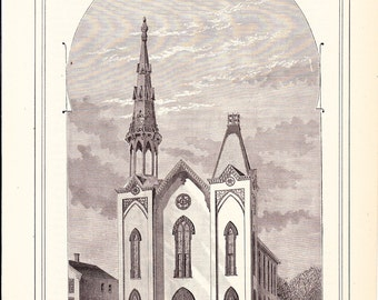 1882 Architecture Church Print - First Methodist Episcopal Church Minneapolis Minnesota - Antique Art Illustration 100 Years Old