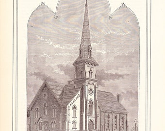 1882 Architecture Church Print - Meriden Methodist Episcopal Church Meriden Connecticut - Antique Art Illustration 100 Years Old