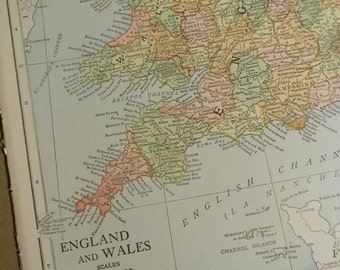 1916 Map England and Wales - Vintage Antique Map Great for Framing