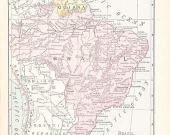 1900 Map Brazil and Guiana - Vintage Antique Map Great for Framing 100 Years Old