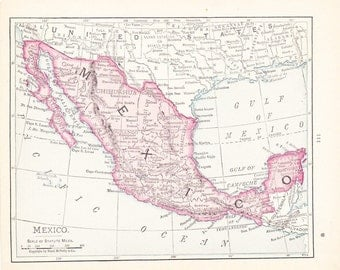 1908 Map of Mexico - Vintage Antique Map Great for Framing 100 Years Old