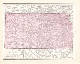 1900 State Map Kansas - Vintage Antique Map Great for Framing 100 Years Old