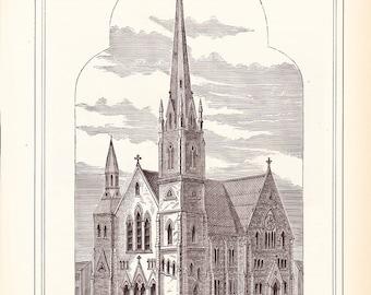 1883 Architecture Church Print - St Pauls Methodist Episcopal Church Cincinnati Ohio - Antique Art Illustration 100 Years Old