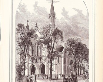 1882 Architecture Church Print - Union Methodist Episcopal Church Covington Kentucky - Antique Art Illustration 100 Years Old