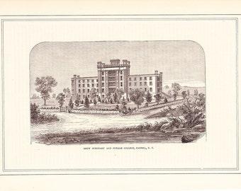 1883 Architectural Print - Drew Seminary Carmel New York - Antique Art Illustration 100 Years Old