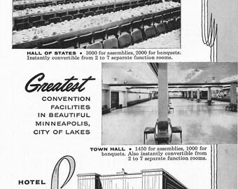 1950s Hotel Advertisement - Leamington Minneapolis Minnesota - Vintage Antique Retro 50s Era Pop Art Ad for Framing 50 Years Old