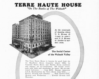 1950s Hotel Advertisement - Terre Haute House Indiana - Vintage Antique Retro 50s Era Pop Art Ad for Framing 50 Years Old