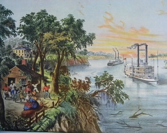 1952 Currier and Ives Low Water in the Mississippi River Print - Vintage Americana Folk Art Illustration