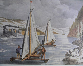 1952 Currier and Ives Ice Boat Race on the Hudson River Print - Vintage Americana Folk Art Illustration