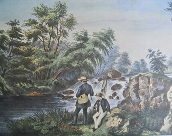 1952 Currier and Ives Trout Stream Fishing Print - Vintage Americana Folk Art Illustration