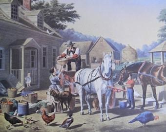 1952 Currier and Ives Farmers Market Print - Vintage Americana Folk Art Illustration