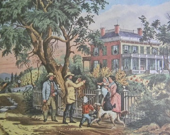 1952 Currier and Ives Country Life Print - Vintage Americana Folk Art Illustration