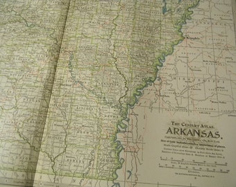 1897 State Map Arkansas - Vintage Antique Map Great for Framing 100 Years Old