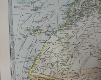 1897 Map North West Africa - Vintage Antique Map Great for Framing 100 Years Old