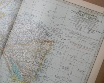 1897 Map Central America - Vintage Antique Map Great for Framing 100 Years Old