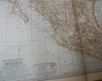 1897 Map Mexico - Vintage Antique Map Great for Framing 100 Years Old