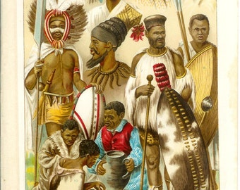 1907 African Peoples Print - Vintage Antique Art Illustration Book Plate Great for Framing 100 Years Old