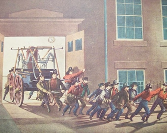 1952 Currier and Ives Fireman Print - Vintage Americana Folk Art Illustration