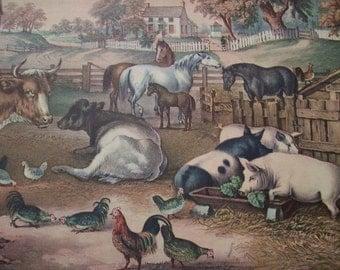 1952 Currier and Ives Farmyard Print - Vintage Americana Folk Art Illustration