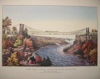 1952 Currier and Ives Niagara Falls Print - Vintage Americana Folk Art Illustration