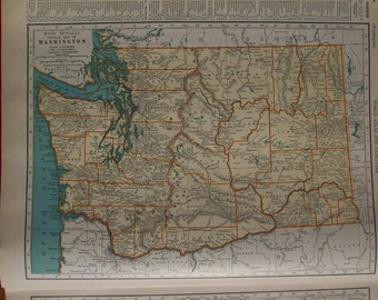 1937 State Map Washington - Vintage Antique Map Great for Framing