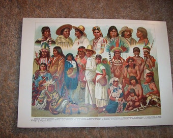 1905 Native American Indian Print - Vintage Antique Art Illustration Book Plate Great for Framing 100 Years Old