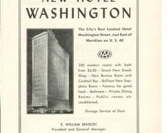 1950s Hotel Advertisement - Washington Indianapolis Indiana - Vintage Antique Retro 50s Era Pop Art Ad for Framing 50 Years Old