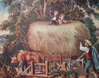 1952 Currier and Ives Hay Harvest Print - Vintage Americana Folk Art Illustration