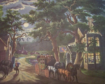 1952 Currier and Ives Wayside Inn Print - Vintage Americana Folk Art Illustration