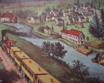1952 Currier and Ives Pacific Train Ride Print - Vintage Americana Folk Art Illustration