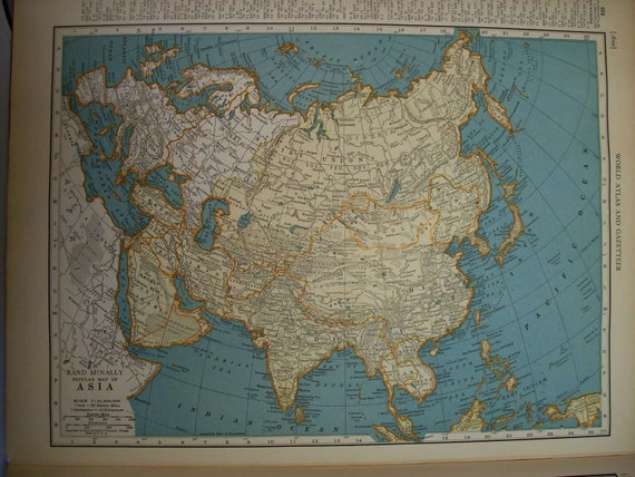 1936 Map Asia - Vintage Antique Map Great for Framing
