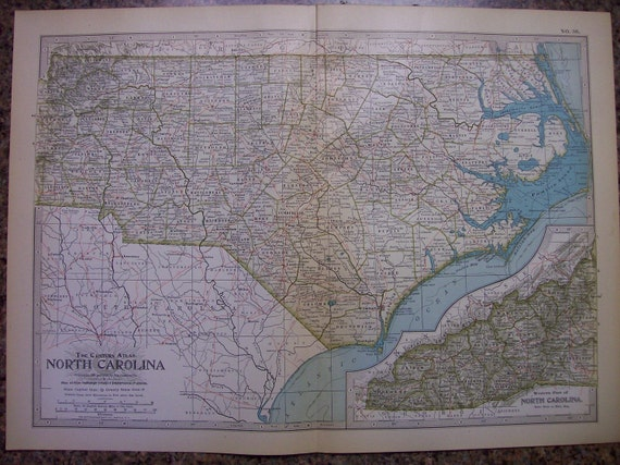 1911 State Map North Carolina - Vintage Antique Map Great for Framing 100 Years Old