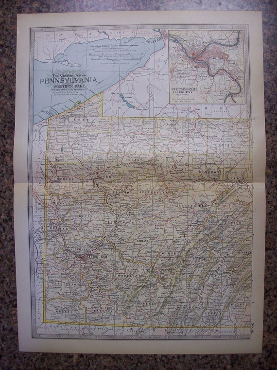 1911 State Map Western Pennsylvania - Vintage Antique Map Great for Framing 100 Years Old