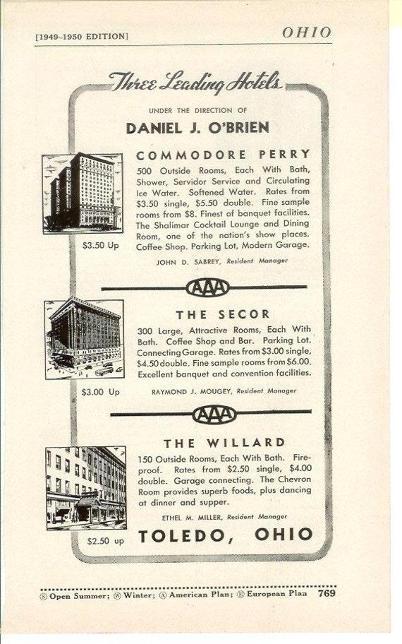 1950s Hotel Advertisement - Toledo Ohio - Vintage Antique Retro 50s Era Pop Art Ad for Framing 50 Years Old