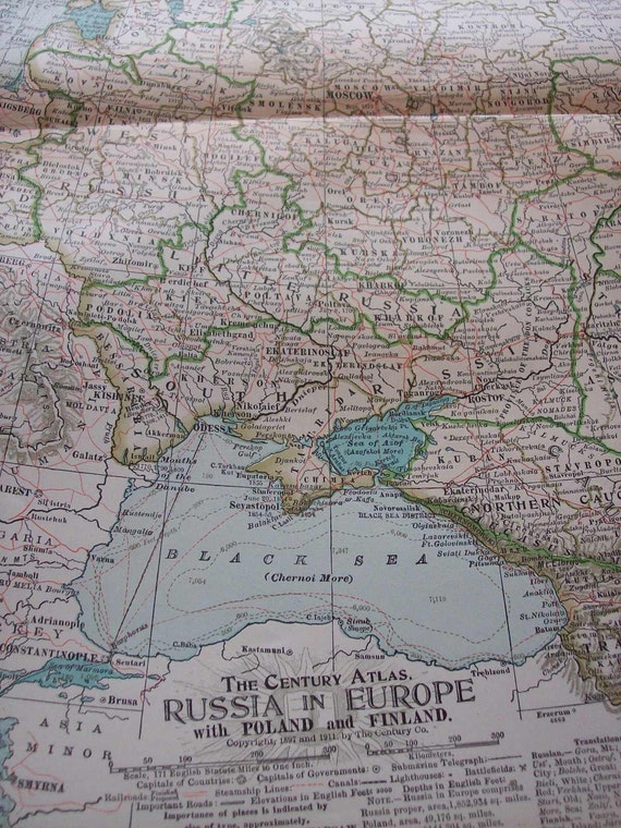 1911 Map Russia in Europe - Vintage Antique Map Great for Framing 100 Years Old