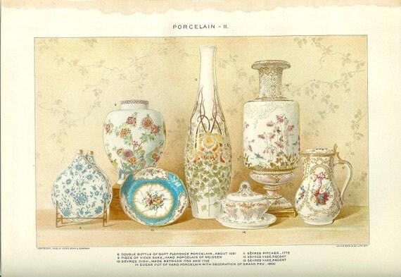 1903 Porcelain Print Vintage Antique Home Decor Book Plate