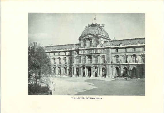 1909 Architecture Photograph - The Louvre Paris France - Vintage Antique Art Print History Geography Great for Framing 100 Years Old