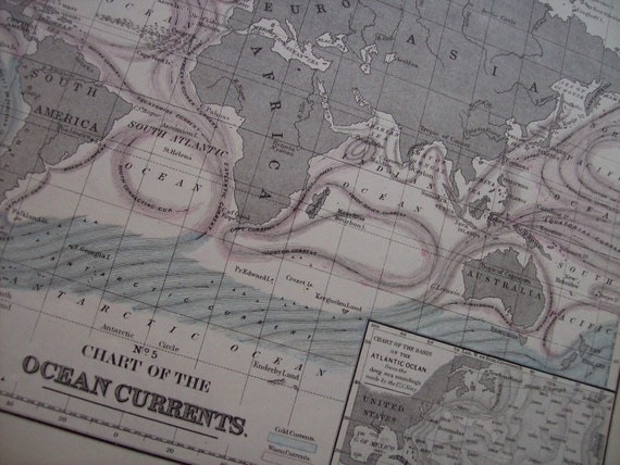 1867 Mitchell's World Map - Ocean Currents - Vintage Antique Map Great for Framing 100 Years Old