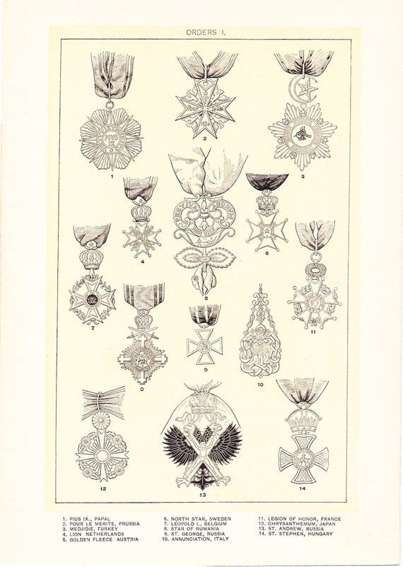 1903 Orders Medals Print I - Vintage Antique Home Decor Book Plate Art Illustration for Framing 100 Years Old