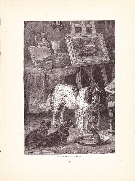 1880 Animal Print Domestic Pets Vintage Antique Home Decor